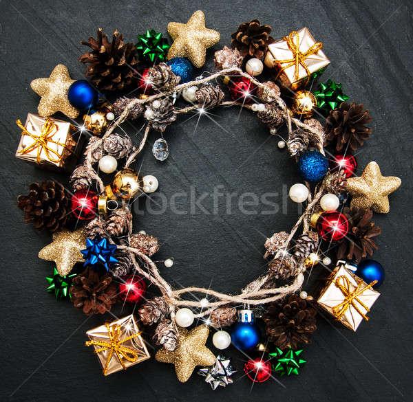 Navidad vacaciones decoración negro piedra textura Foto stock © almaje