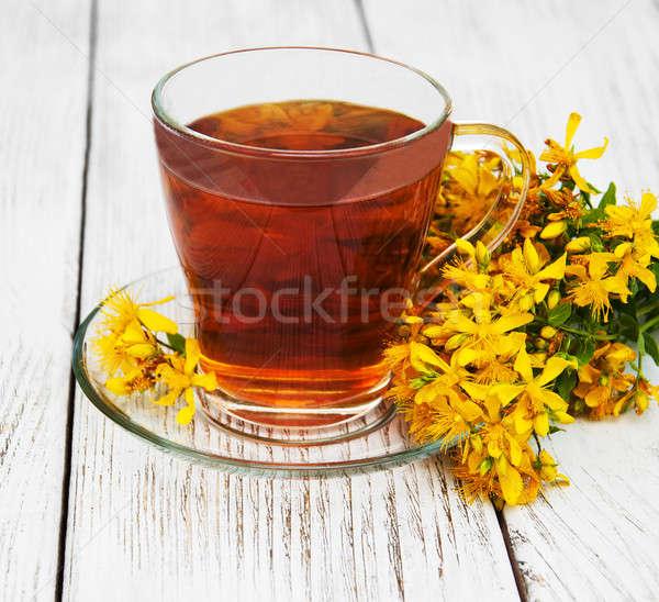Bitkisel çaylar cam fincan taze çiçekler çiçek Stok fotoğraf © almaje