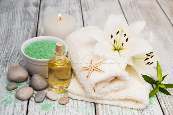 Spa products with white lily Stock photo © almaje