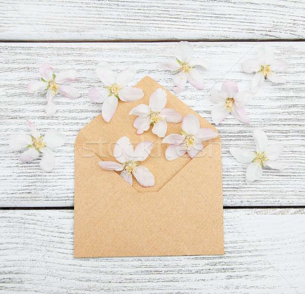 Virágok boríték öreg fából készült papír fa Stock fotó © almaje