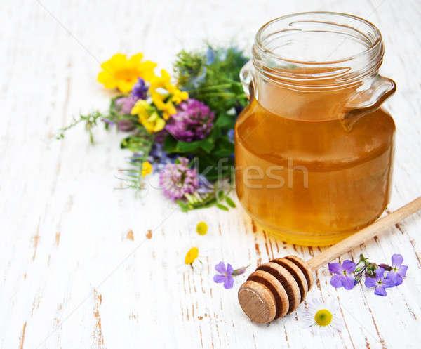 Miel flores silvestres alimentos madera naturaleza Foto stock © almaje