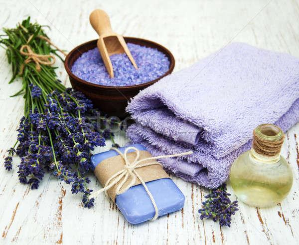 Lavender, sea salt and massage oil Stock photo © almaje