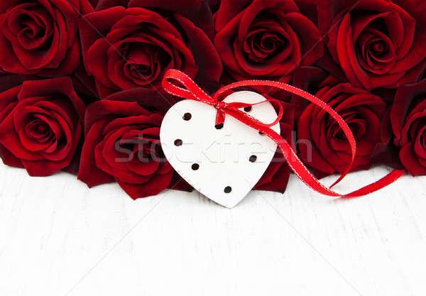 świeże red roses serca ślub miłości Zdjęcia stock © almaje