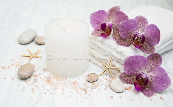 Kaars handdoeken houten licht steen spa Stockfoto © almaje