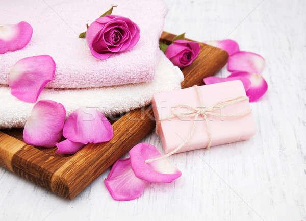 ストックフォト: バス · タオル · 石鹸 · ピンク · バラ · 古い