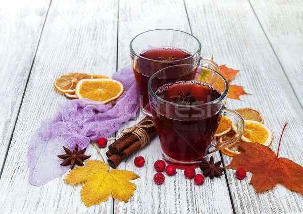 Sıcak şarap baharatlar ahşap gıda meyve Stok fotoğraf © almaje