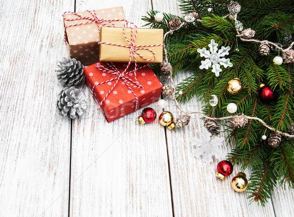 Natal caixas de presente projeto caixa Foto stock © almaje