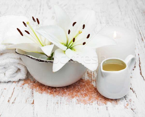 White lily, towels and sea salt Stock photo © almaje