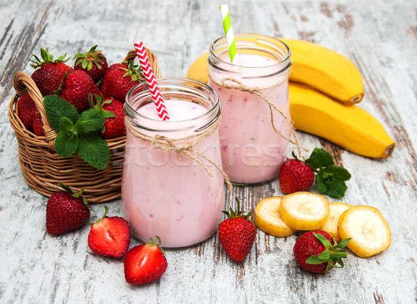 Yogurt with strawberries and bananas Stock photo © almaje