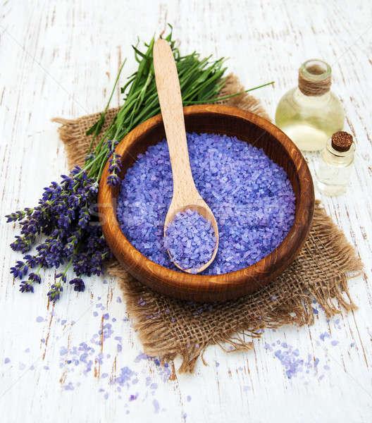 lavender oil with bath salt Stock photo © almaje
