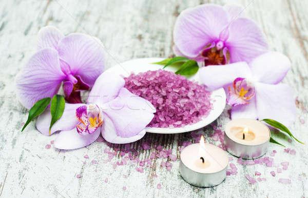Spa massage producten orchideeën oude houten Stockfoto © almaje