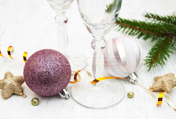 Champagne glass and christmas decor Stock photo © almaje