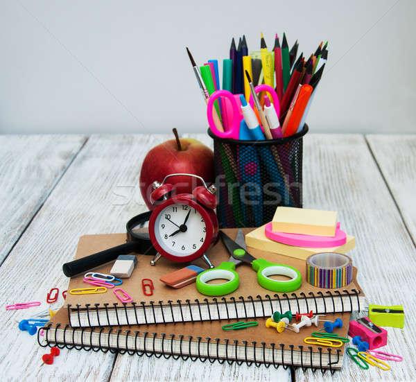 学校 事務用品 木製のテーブル 図書 クロック リンゴ ストックフォト © almaje
