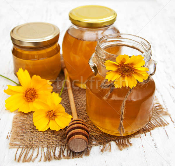Bal çiçekler sarı çiçekler eski ahşap çiçek Stok fotoğraf © almaje