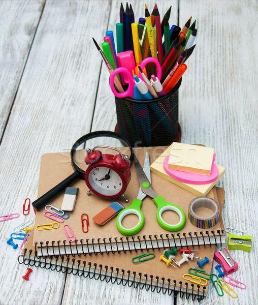 学校 事務用品 木製のテーブル 図書 クロック 鉛筆 ストックフォト © almaje