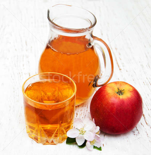 ガラス リンゴジュース 花 木製 花 自然 ストックフォト © almaje