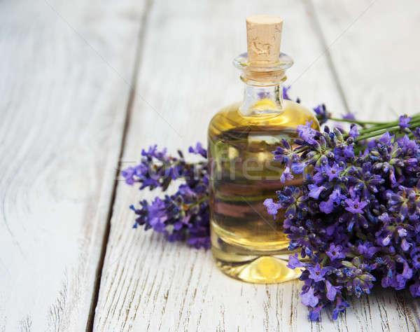 Levendula masszázsolaj öreg fából készült virág virágok Stock fotó © almaje
