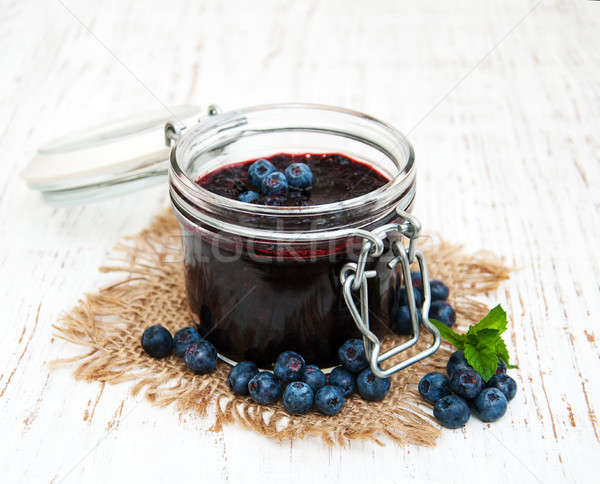 Stock photo: Blueberry jam and fresh blackberries