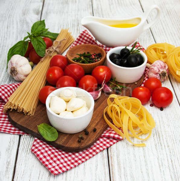 のイタリア料理 材料 古い 木製 表 油 ストックフォト © almaje