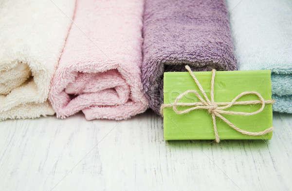 Colorido estância termal toalhas flor saúde Foto stock © almaje