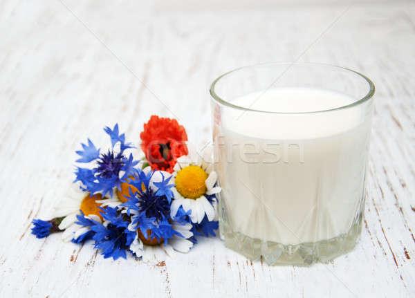 Melk oude houten voedsel natuur Stockfoto © almaje