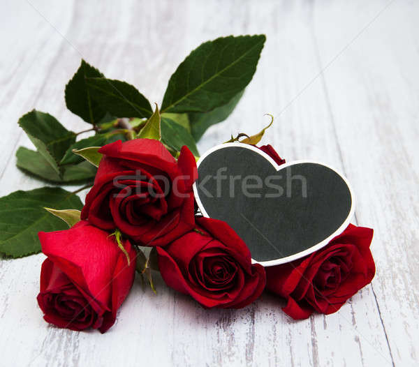 Red roses and heart Stock photo © almaje