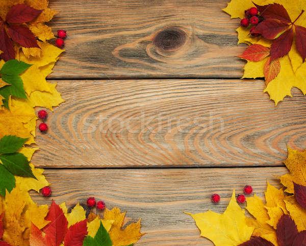 őszi levelek fa asztal keret ősz színes levelek Stock fotó © almaje