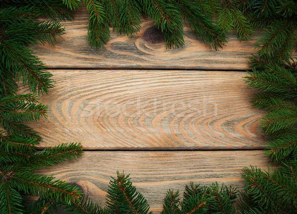 Karácsony ünnep fa fa asztal természet keret Stock fotó © almaje