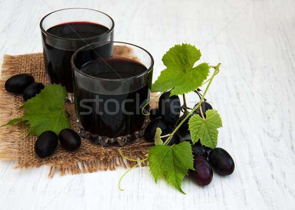 Stockfoto: Bril · wijnglazen · wijn · oude · houten · voedsel