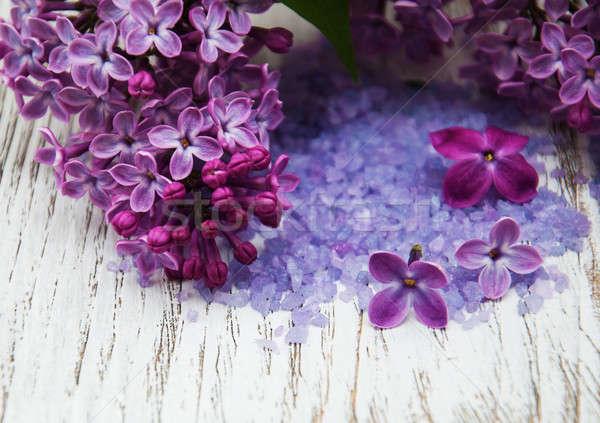 Сток-фото: сирень · цветы · морская · соль · старые · деревянный · стол · древесины