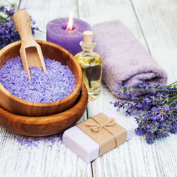 Lavendel spa producten houten bloem lichaam Stockfoto © almaje