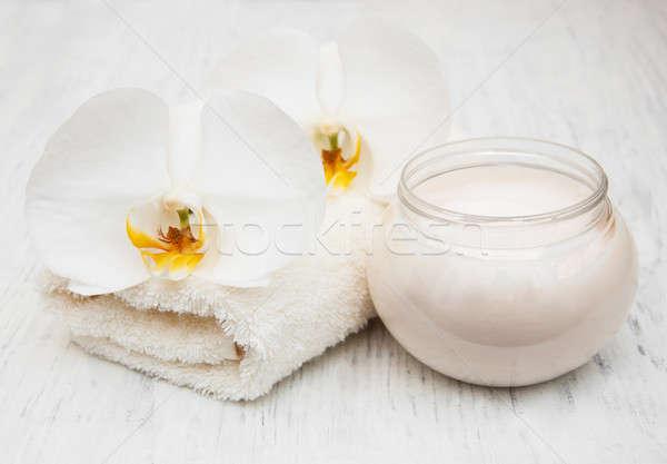 Orquídeas creme estância termal toalhas flor Foto stock © almaje