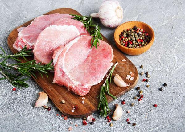 新鮮な 生 豚肉 スパイス ハーブ 石 ストックフォト © almaje