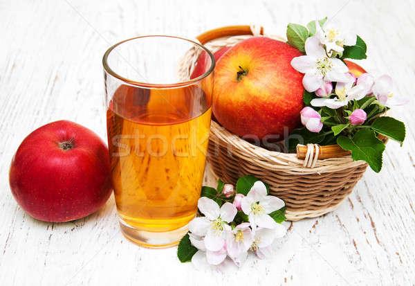 ガラス リンゴジュース リンゴ 花 木製 花 ストックフォト © almaje