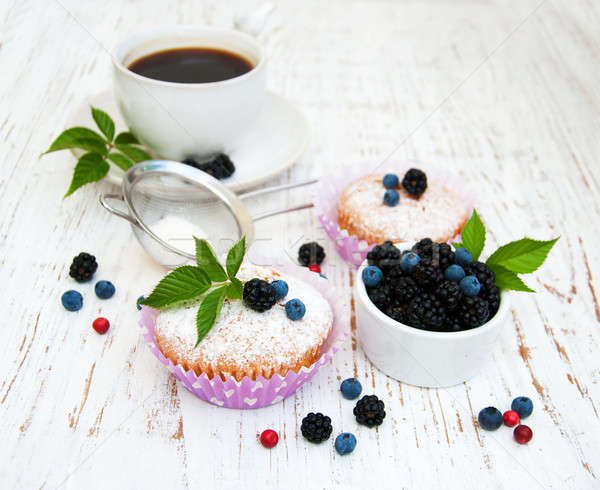 Muffins with fresh berries Stock photo © almaje