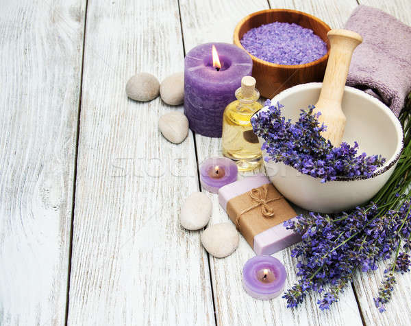 Spa products and lavender flowers Stock photo © almaje