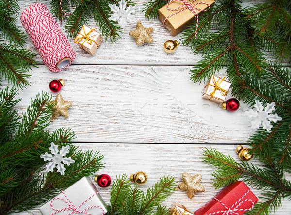 Navidad vacaciones árbol decoración mesa de madera madera Foto stock © almaje