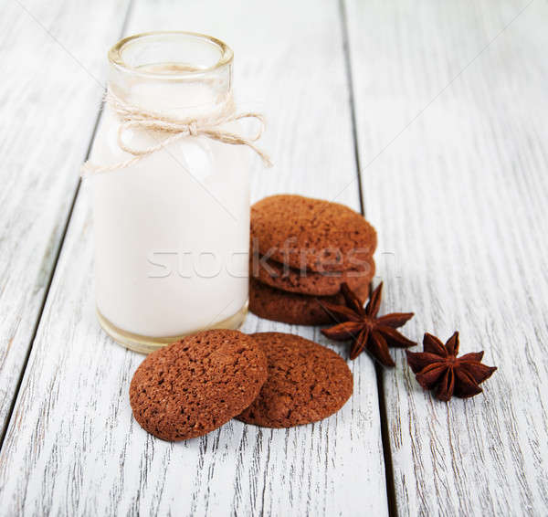 oatmeal cookies and bottle of milk Stock photo © almaje