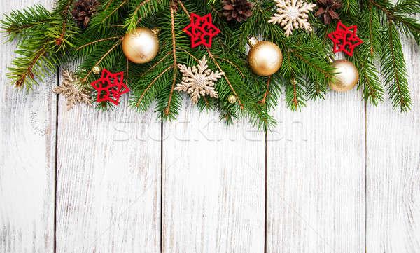 Christmas decoratie hout glas Stockfoto © almaje