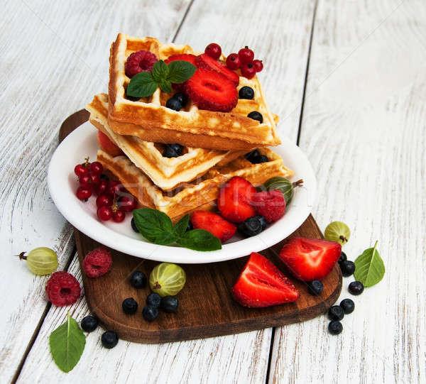 waffles with fresh berries Stock photo © almaje