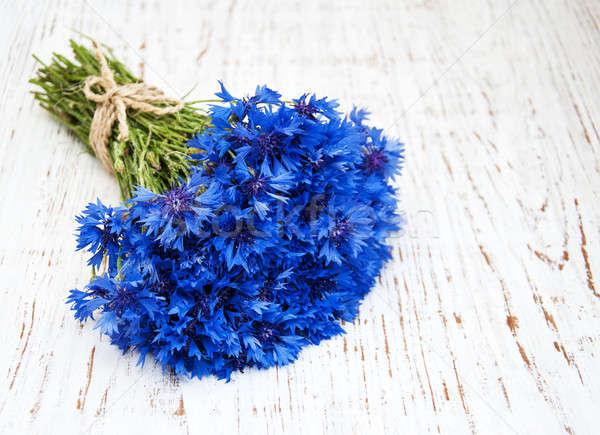 Mavi eski beyaz ahşap çiçekler güzellik Stok fotoğraf © almaje