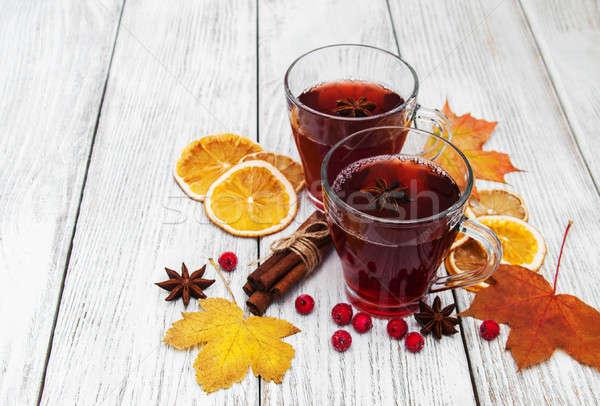 Sıcak şarap baharatlar ahşap gıda ahşap Stok fotoğraf © almaje