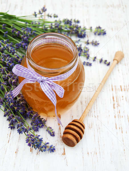 Méz levendula virágok öreg fából készült egészség Stock fotó © almaje