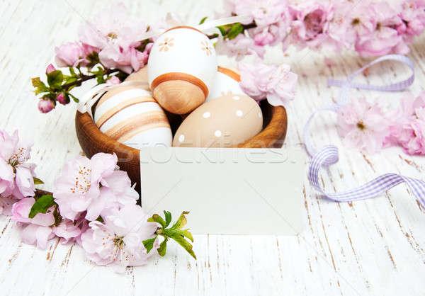 Tál húsvéti tojások üdvözlőlap anime virág öreg Stock fotó © almaje