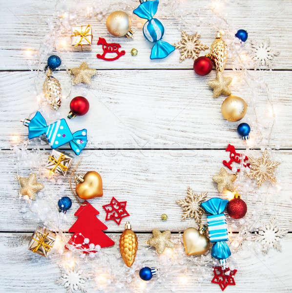 Natal grinalda luzes rústico madeira Foto stock © almaje