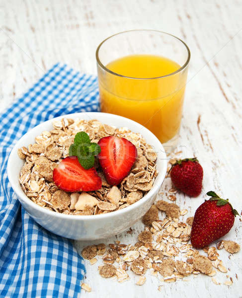 Muesli with strawberries Stock photo © almaje
