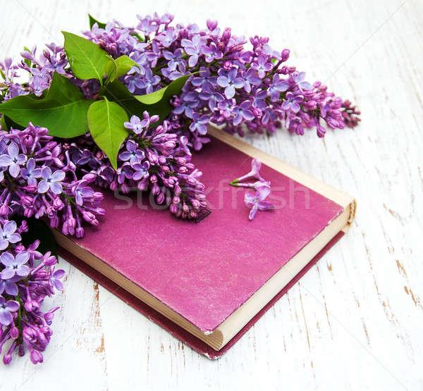 ライラック 花 古本 木製 花 図書 ストックフォト © almaje