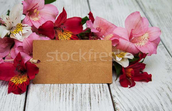 paper card with alstroemeria flowers Stock photo © almaje