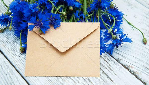 Kopercie niebieski świeże starych drewniany stół kwiat Zdjęcia stock © almaje