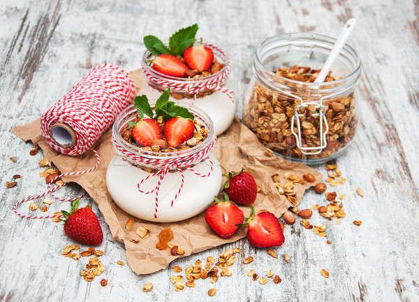 Yoğurt granola kahvaltı çilek sağlık süt Stok fotoğraf © almaje